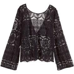 H&M Lace top ($14) ❤ liked on Polyvore featuring tops, blouses, shirts, black, long black shirt, black v neck shirt, black lace blouse, see through blouse and black sheer shirt