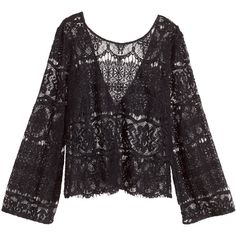 H&M Lace top ($14) ❤ liked on Polyvore featuring tops, blouses, shirts, black, long black shirt, black v neck shirt, black lace blouse, see through blouse and black sheer shirt