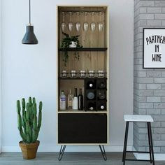 Union Rustic Caylee Aster High Bar with Wine Storage Modern Bar Cabinet, Home Bar Cabinet, Drinks Cabinet, Modern Cabinets, Liquor Storage, Mahogany Color, Wine Cabinets, Cabinet Lighting, Aster