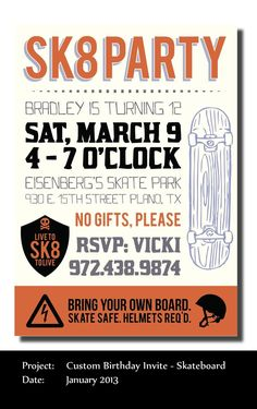 Skateboarding birthday invitations
