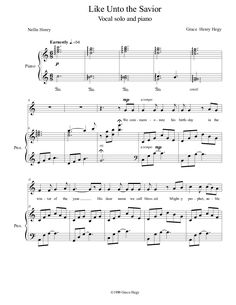 Like Unto the Savior (by Grace Hegy -- Vocal Solo) Joseph Smith, Music Pictures, Savior, Sheet Music, Songs, Salvador, Song Books, Music Sheets