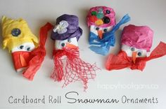snowman ornaments - happy hooligans - cardboard roll/toilet roll christmas crafts to make with the family. How closely can you make them resemble family members?