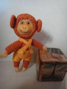 Купить обезъянка - коричневый, вязаная игрушка крючком, символ 2016 года, авторская ручная работа