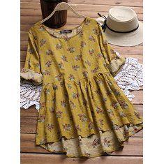 Gracila Floral Print 3/4 Sleeve Blouse at Banggood