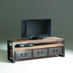 meuble tv industriel en bois avec tiroirs