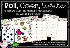 Roll, Cover and Write Literacy Games, Writing Boards, Word Board, Rolls, Cover, Fun, Buns, Bread Rolls, Blankets