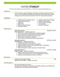 best mechanic resume example livecareer - Mechanic Resume Example