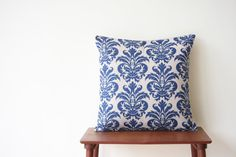 Blue Damask Decorative Pillow Cover Cushion Cover by BeadandReel, $18.00