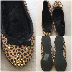 Cheetah Print with Gold Studded Detailed Flats Beige and Black Cheetah Print Slip On Flats with Gold Studded Detailing  Super Soft Lining Inside H&M Shoes Flats & Loafers