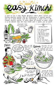 Easy Kimchi (though not traditional) - Banchan In 2 Pages Cooking Websites, Cooking Tips, Cooking Recipes, Cooking Pork, Cooking Turkey, Easy Cooking, Asian Recipes, New Recipes, Recipe Drawing