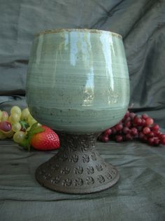 Ceramic Brandy Snifter, Parfait Cup, Wine Goblet in Sky Blue and Black Mountain by Sally Anne Stahl @ www.clayshapergallery.com Thrown Pottery, Pottery Mugs, Ceramic Pottery, Pottery Art, Pottery Designs, Pottery Ideas, Ceramic Cups, Ceramic Art, Communion Sets