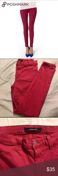"J Brand skinnies J Brand Super Skinny Gaya mid-rise stretch jeans. Color is a deep crimson red. Size 28, will fit a 4/6. 26"" inseam. Very good used condition, no damage. J Brand Jeans Skinny"