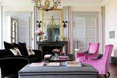 Hot Pink Living Room   pink-grey-living-room-fuschia-arm-chairs-velvet-fireplace-french ...