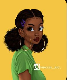 Black Love Art, Black Girl Art, Natural Hair Art, Natural Hair Styles, Drawings Of Black Girls, Black Girl Cartoon, Pelo Afro, Black Art Pictures, Afro Girl