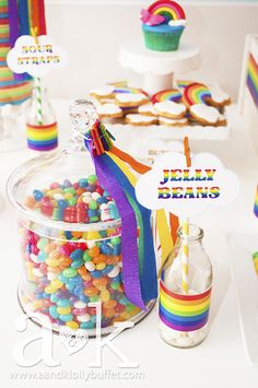 Jar of jelly beans at a Rainbow Birthday Party!   See more party ideas at CatchMyParty.com!  #partyideas #rainbow