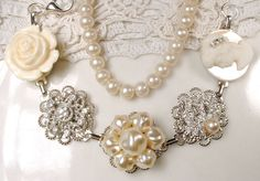 OOAK Vintage Wedding Pearl & Rhinestone Antique Button Bracelet, Silver Cream Ivory Cluster Earring Bracelet - I just fell deeply in love...