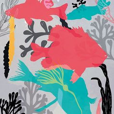 Under the Sea By Kat Hassell / Uncouth Kat www.uncouthkat.com#contemporary #illustration #lowbrow #simple #vivid #colourful #sea #underwater