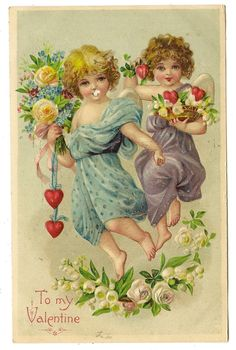 Antique Valentines Day Postcard Two Child Cupids Hearts Yellow White Roses 1908 | eBay