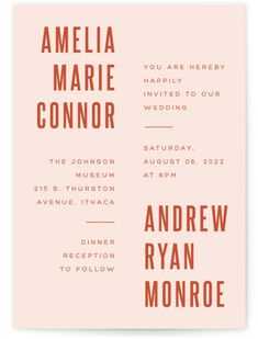 Photo Cards, Announcements, Invitations, Art & Home Decor Modern Wedding Stationery, Pink Wedding Invitations, Invites, Stationery Design, Invitation Design, Poster Design Layout, Poster Designs, Print Fonts, Typography Logo