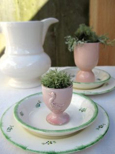 Johnson Bros Pink Egg Cup, Barrington Ironstone Pitcher and green and white plates. Johnson Bros, White Plates, Tabletop, Egg, Floral Prints, Dishes, Places, Handmade Gifts, Green