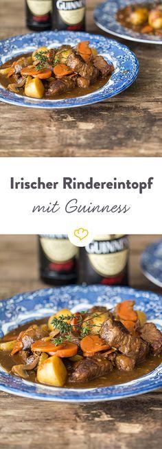 Zart geschmortes Rindfleisch, Wurzelgemüse und ein großzügiger Schuss Guinness verleihen diesem Wohlfühl-Gericht seinen unwiderstehlichen Geschmack.