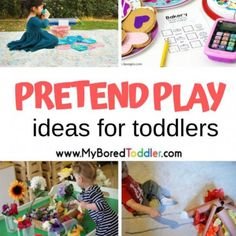 Pretend Play Ideas for Toddlers - My Bored Toddler Toddler Age, Toddler Sleep, Toddler Books, Toddler Preschool, Toddler Activities, Toddler Girls, Toddler Vegetables, Diy Sensory Board, Sensory Play
