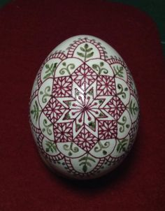 Lovely Romainian 'like' pysanka, done by leaving colored wax on the egg, by Yukika Wada san, Pysanky Japan
