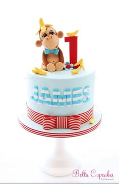Boy's 1st birthday cake