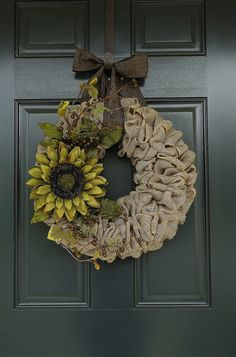 Green Sunflower Burlap Wreath--Burlap Wreath--Fall Burlap Wreath--