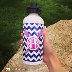Sport this cute, monogrammed water bottle at your lacrosse practices or games! #LuLaLax