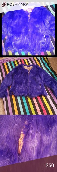 NWOT blue furry jacket Looks purple but its blue. Two pockets. Size Asian large, so runs like a medium. Not nasty gal just for exposure  Rave Trend Raver Goth Punk  Halloween Nasty Gal Jackets & Coats