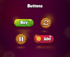 The Amazing Forest - Graphics Design on Behance Game Ui Design, App Design, Ui Buttons, Game Buttons, Button Game, Game Gui, Game Interface, Game Concept Art, Game Assets