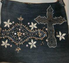 Denim Handmade Sling Tote Shoulder Bag Cross by CrossMyHeartBags