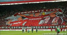 """Kaiserslautern vs Hannover 05.08.2016  Beautiful tifo by 1.FC Kaiserslautern Utras at the opening match of 2nd Bundesliga saying: """"Let's go 1.FCK - We live for our club"""""""