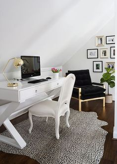Bright and white attic office space with bold accents Contemporist shows a great solution for an attic that needed to be split up into different spaces.   Small separate area for an office in an attic Again with those knee walls that are so awkward to work with — Pinecomb Camp offers a great example of how you can take advantage of it by creating one large, long desk along the entire wall.   Clean and simple attic office Shelterness also shows some interesting attic office spaces, with this…