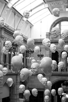 The Floating Heads installation by Sophia Cave, 2010 at Kelvingrove, Museum, Glasgow