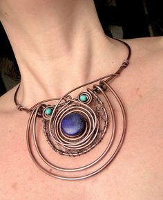 Copper Wire Jewellery Necklaces - pic only. Another great design idea.  I love the crocheted wire base, but I suppose that could changed or eliminated if needed.
