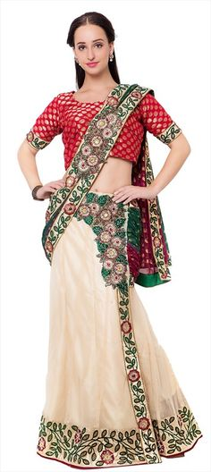718478 Beige and Brown, Green  color family Lehngas Style Sarees in Net, Viscose fabric with Lace, Machine Embroidery, Stone, Thread work   with matching unstitched blouse.