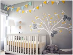 Project Nursery This is a nursery that is done majorly in grey colour and the whole zing is added to it through a bunting in sunny yellow, aqua and white colours. This can be a great addition to a place that is in a bit simple shades