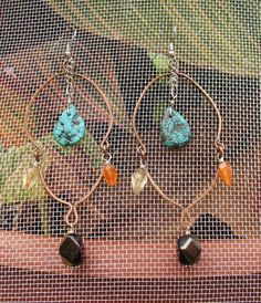 Hand-Made Chandelier Earrings in Copper and Assorted Gemstones. $16.00, via Etsy.
