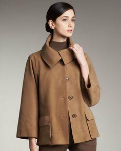 My Audrey Hepburn jacket. Akris Brown Boxy Suede Jacket