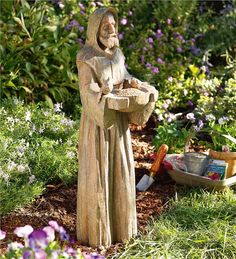 Main image for Earth-Tone Resin-Cast Saint Francis Statue with Bird Feeder