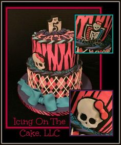 Pink, pink, pink!  It's my favorite color!  Add in some skulls and I'm always so excited when I'm asked to do this theme!   www.facebook.com/icingonthecake1