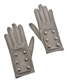 Leather Gloves with Button Detail