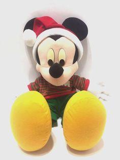 "Disney Mattel 19"" Christmas Mickey Mouse Santa Hat Plush Stuffed Toy Vintage #DISNEYMATTEL"