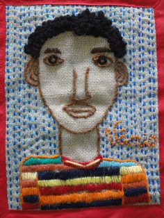 auto retrato bordado a lã