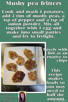 Slimming World Burgers, Slimming World Sweets, Slimming World Dinners, Slimming World Recipes Syn Free, Slimming World Plan, Pea Fritters, Burger And Chips, Cooking Recipes, Diet Recipes