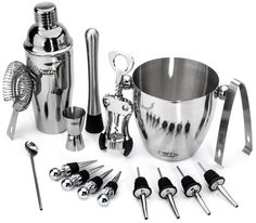 Stainless Steel Wine and Cocktail Bar 10 Piece Set Includes Essential Barware Tools and Ice Bucket w/Bonus 1000 Bartender… by Buddy