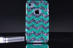 Otterbox iPhone 4 / Case - Glitter Wintermint/Smoke Custom Small Chevron Pattern Mint Otterbox Case for iPhone Iphone 6 Cases, Cute Phone Cases, Iphone 4s, 4s Cases, Cool Cases, Iphone Accessories, Ipad Case, Just In Case, Chevron