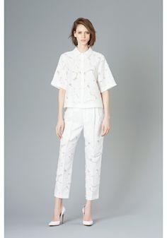 LE CIEL BLEU Flower cut jacquard shirt and pants